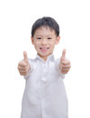 Portrait of beautiful little boy giving you thumbs up over white Royalty Free Stock Photography