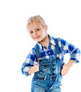 Portrait of a beautiful little girl dressed in jeans Stock Image