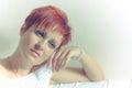 Portrait of a beautiful melancholic woman Stock Photos