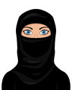 Portrait of a beautiful muslim woman with blue eyes and wearing a niqab isolated on white background Royalty Free Stock Images