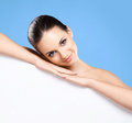 Portrait of a beautiful naked woman with a white banner Royalty Free Stock Photo