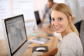 Portrait of beautiful office worker in computer Stock Images