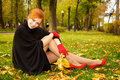 Portrait of a beautiful red-haired woman Stock Images
