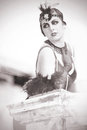 Portrait of The Beautiful Retro Woman 1920s - 1930s Royalty Free Stock Photo