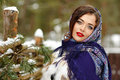 Portrait of beautiful sexy brunette girl in a blue scarf in the Royalty Free Stock Photo