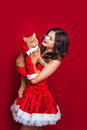 Portrait of beautiful sexy girl wearing santa claus clothes with red british cat Royalty Free Stock Photo