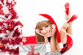 Portrait of beautiful sexy girl wearing santa claus clothes on white background Royalty Free Stock Photography