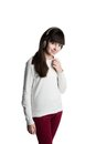 Portrait of a beautiful shy young brunette girl Royalty Free Stock Photo