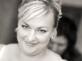 Portrait of beautiful smiling bride black and white tone Royalty Free Stock Images