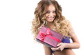 Portrait of beautiful smiling girl with gifts Imagens de Stock