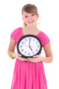 Portrait of beautiful teenage girl with clock isolated over whit Stock Images