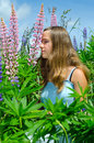 Portrait of beautiful teenager smelling flowers brunette in summer field Stock Image