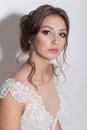 Portrait of a beautiful tender young bride with evening festive hair and gentle make-up in a snow-white dress with a train