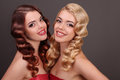 Portrait of beautiful twin sisters Royalty Free Stock Photo