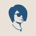 Portrait of beautiful woman in black sunglasses.