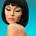 Portrait of beautiful woman with bob hairstyle closeup fashion model face creative makeup Royalty Free Stock Photography