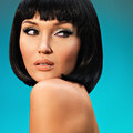 Portrait of beautiful woman with bob hairstyle closeup fashion model face creative makeup Royalty Free Stock Images
