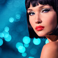 Portrait of beautiful woman with bob hairstyle a over art creative background Royalty Free Stock Photo
