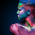 Portrait of beautiful woman with body art Royalty Free Stock Image