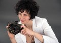 Portrait of a beautiful woman with a camera classic Royalty Free Stock Photos