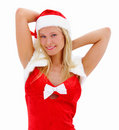 Portrait of a beautiful woman dressed as Santa Stock Image