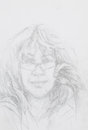 Portrait of beautiful woman with eyeglasses hand drawn pencil drawing wearing Stock Image