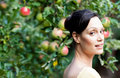 Portrait of a beautiful woman in a garden Stock Image