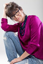 Portrait of beautiful woman with glasses Royalty Free Stock Photography