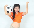 Portrait beautiful woman hold ball wearing football top feeling image of happy Stock Image
