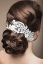 Portrait of a beautiful woman in the image of the bride with lace in her hair. Beauty face.Hairstyle back view Royalty Free Stock Photo