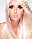 Portrait of  a  beautiful  woman with long white straight  hairs Royalty Free Stock Images