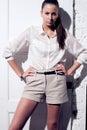 Portrait of beautiful woman model. Fashion photo Royalty Free Stock Image