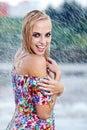Portrait of a beautiful woman in rain Stock Photo