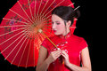 Portrait of beautiful woman in red japanese dress with umbrella isolated on black background Stock Photography