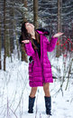Portrait of beautiful woman in snow winter forest Royalty Free Stock Photo