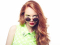 Portrait of beautiful woman in sunglasses on white background fashion photo Stock Photo