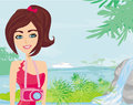 Portrait of a beautiful woman on a tropical beach illustration Stock Images