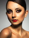 Portrait of a beautiful woman vampire with a glamorous retro mak young makeup Stock Image