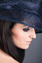 Portrait of beautiful woman in vintage hat Royalty Free Stock Photography