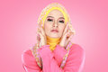 Portrait of beautiful woman wearing hijab fashion young asian muslim with pink costume Stock Images