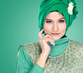 Portrait of beautiful woman wearing hijab fashion young muslim with green costume Royalty Free Stock Photos