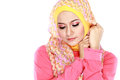 Portrait of beautiful woman wearing hijab fashion young muslim with pink costume Royalty Free Stock Photo