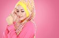 Portrait of beautiful woman wearing hijab fashion young muslim with pink costume Royalty Free Stock Photography