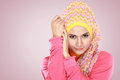 Portrait of beautiful woman wearing hijab fashion young muslim with pink costume Stock Images