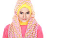Portrait of beautiful woman wearing hijab fashion young muslim with pink costume isolated on white background Royalty Free Stock Photo
