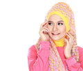 Portrait of beautiful woman wearing hijab fashion young muslim with pink costume isolated on white background Stock Photos