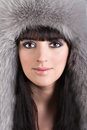 Portrait of beautiful woman in winter furry hat Stock Image