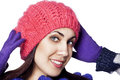 Portrait of beautiful woman in winter hat Stock Images
