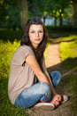 Portrait of beautiful young brunette. Royalty Free Stock Photo