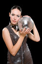 Portrait of beautiful young brunette with a mirror ball Stock Photography
